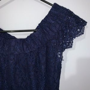 Navy Blue Lace overlay off shoulder dress